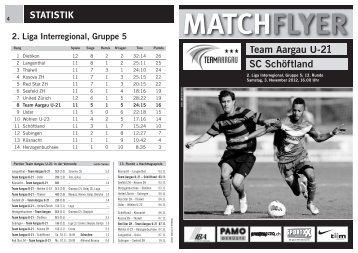 Team Aargau U-21 SC Schöftland MATCHFLYER - FC Aarau