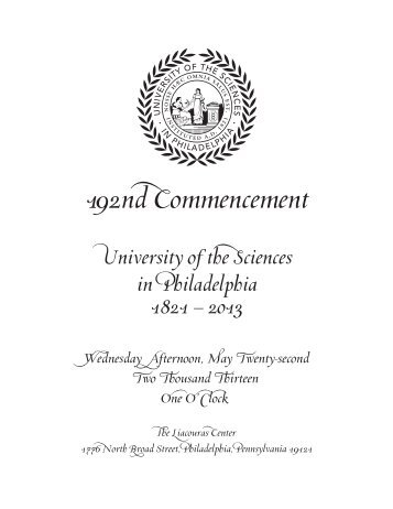 Commencement - University of the Sciences in Philadelphia
