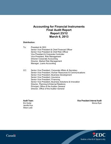 Accounting for Financial Instruments - Final Audit Report ... - EDC