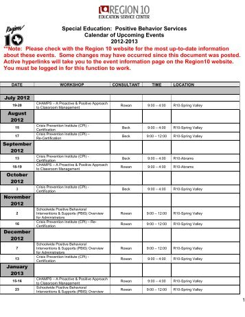 12-13 Calendar of Events - Region 10 Education Service Center
