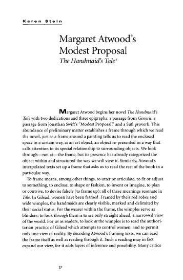 Margaret Atwood's Modest Proposal - University of British Columbia