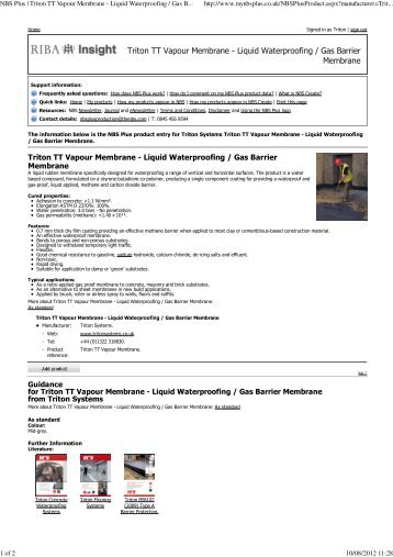 NBS Plus Product Entry Download - Triton Chemicals