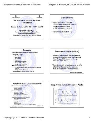 Disclosures Parasomnias (definition) Parasomnias: (classification)