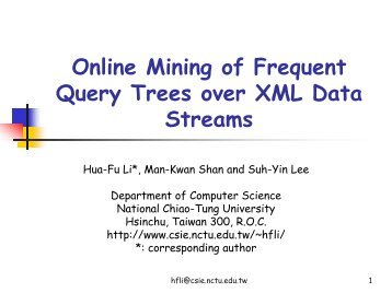 Online Mining of Frequent Query Trees over XML Data ... - WWW2006