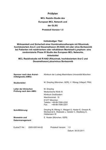 Prüfplan - Kompetenznetz Maligne Lymphome