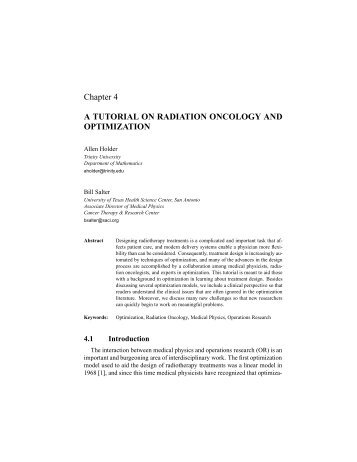 Chapter 4 A TUTORIAL ON RADIATION ... - Trinity University
