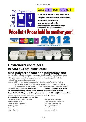 Gastronorm - Catering Equipment UK - Gastronorm Containers and ...