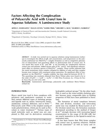 Factors affecting the complexation of polyacrylic ... - ResearchGate