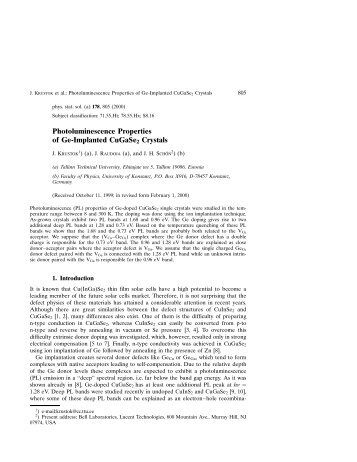 Photoluminescence Properties of Ge-Implanted CuGaSe2 Crystals