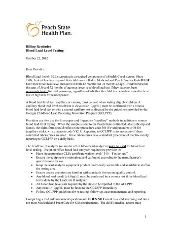 Blood Lead Level Testing Reminder 2012 - Peach State Health Plan ...