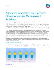 Additional Information on Chevron's Greenhouse Gas Management ...