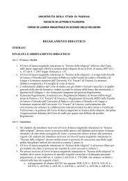 regolamento didattico - Lettere e Filosofia - Università degli Studi di ...