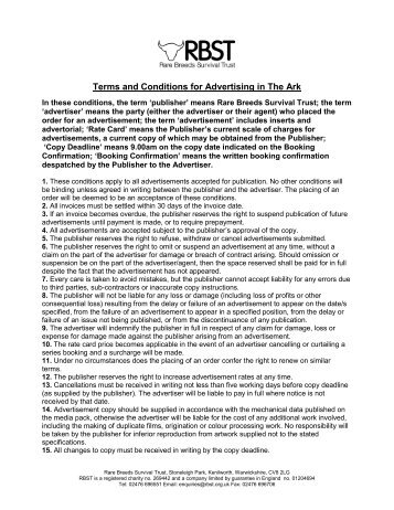 RBST Terms and Conditions for Ark advertisers - Rare Breeds ...