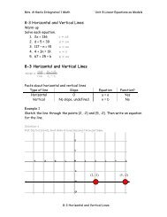 8-3 Horizontal and Vertical Lines 8-3 Horizontal and Vertical Lines