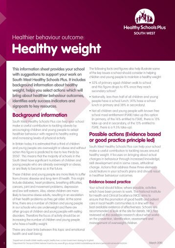 Healthy weight - Cornwall Healthy Schools