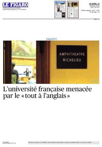 L'université française menacée par le « tout à l'anglais »
