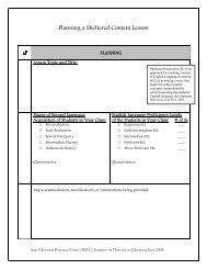 Planning a Sheltered Content Lesson - The State Education ...