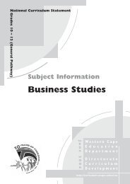 Business Studies - Curriculum Development