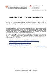 Sekundarstufe I und Sekundarstufe II Kapitel 5 des Schweizer ... - EDK