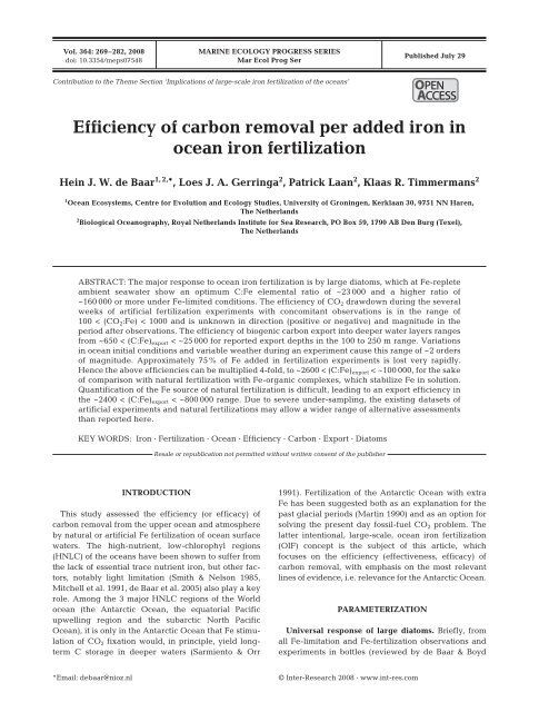 Efficiency of carbon removal per added iron in ocean iron fertilization