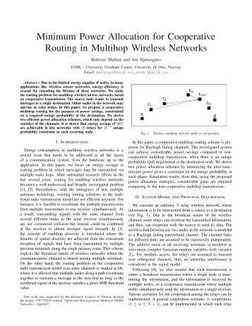 Minimum Power Allocation for Cooperative Routing in ... - Unik