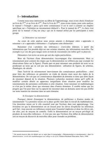 I – Introduction - IREM de Rennes