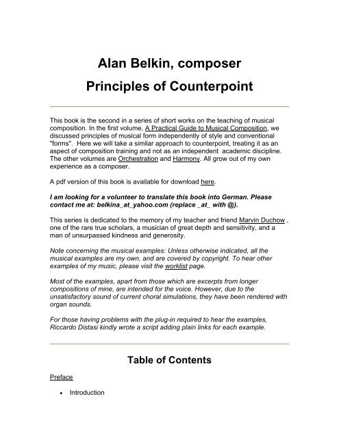 Alan Belkin, composer Principles of Counterpoint