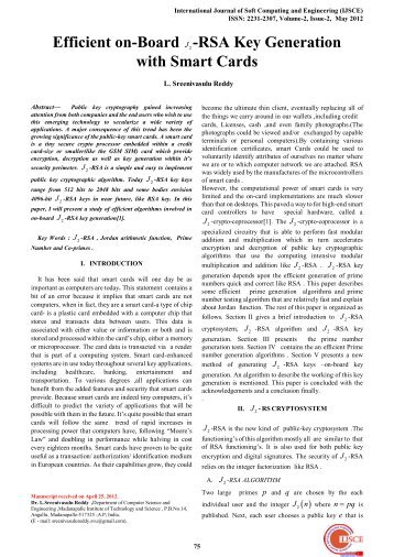RSA Key Generation with Smart Cards - International Journal of Soft ...