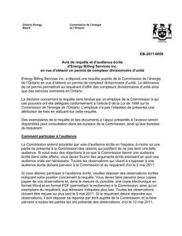 Notice of Application for a Unit Sub-Metering (English) - Yardi
