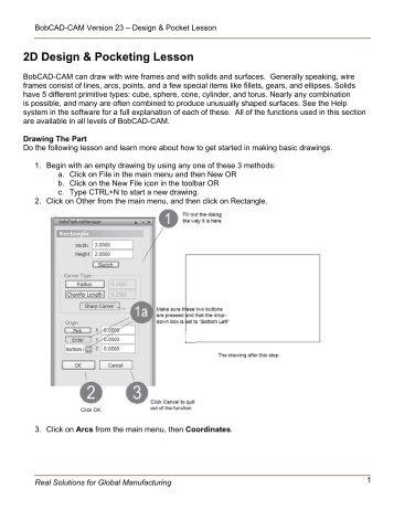 2D Design & Pocketing Lesson - BobCAD-CAM