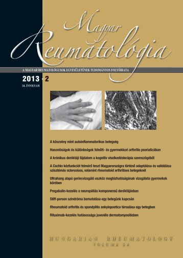 2013• 2 2013• 2 - Magyar Reumatológusok Egyesülete