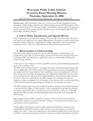 September 21, 2006 - Wisconsin Public Utility Institute