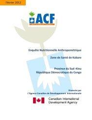 Enquête Nutritionnelle Anthropométrique Zone de Santé de Kabare ...