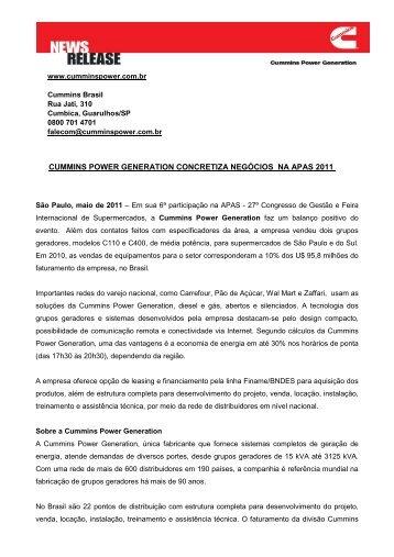 cummins power generation concretiza negócios na apas 2011