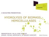 Hydrolysis OF BIOMASS - HEMICELLULASES - Novozymes