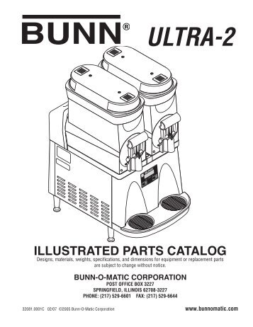 Ultra-2 Illustrated Parts Catalog - Cowhill Express Coffee Company