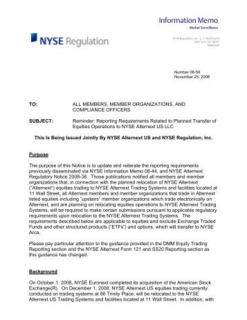 Information Memo - FINRA - Rules and Regulations