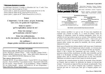 feuille paroissiale du 17 juin 2012 - Diocèse d'Albi
