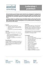 Ledarskap i praktiken - Anelod utveckling AB