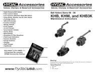 Ball Valves Sizes 06 - 50 KHB, KHM, and KHB3K ... - HYDAC USA