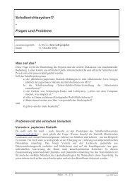 Schulberichtssystem!? - Fragen und Probleme - lern-soft-projekt