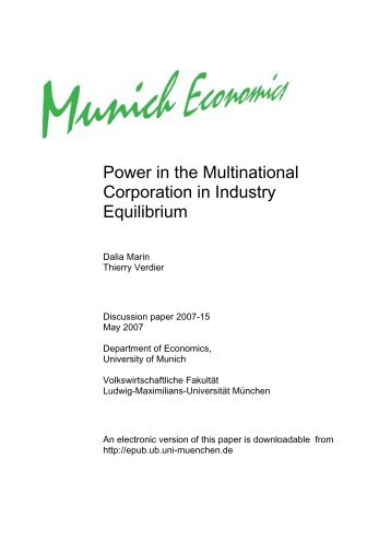 Power in the Multinational Corporation in Industry Equilibrium