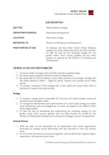 JOB DESCRIPTION JOB TITLE Media Relations Manager ...