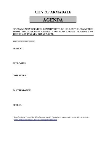 Agenda (PDF 148 KB) - City of Armadale