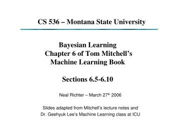 Bayesian Learning Chapter 6 of Tom Mitchell's Machine Learning ...