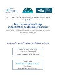 Master 2 Ingénierie Statistique et Financière (I.S.F) - Maths-fi.com