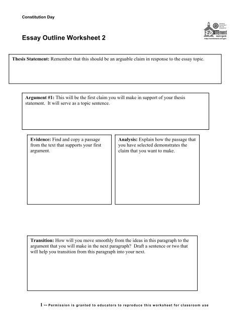 Essay Outline Worksheet 2 - EDSITEment