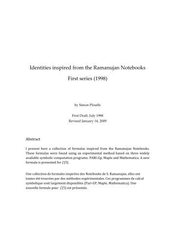 Identities inspired from the Ramanujan Notebooks First ... - arXiv