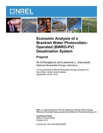 Economic Analysis of a Brackish Water Photovoltaic-Operated ...
