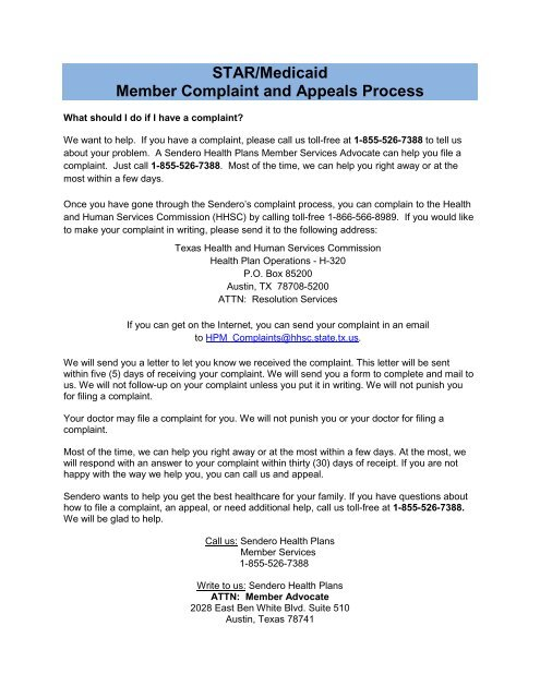 to download the STAR Member Complaints and Appeals Process